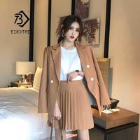 2019 Women Short Pleated Skirt Suits Double Breasted Notched Loose Blazer Jackets Skirts Two Pieces Set Lady Female Sale S96126Z