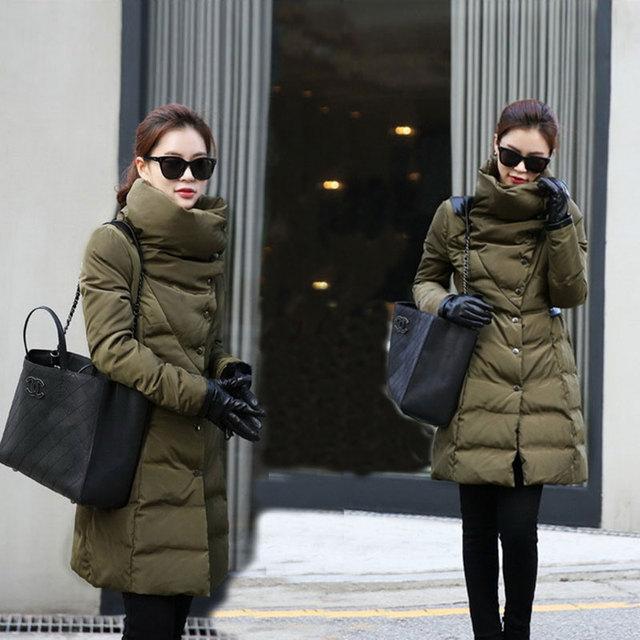 Snow Wear Wadded Female 2016 Casacos Feminino Winter Jacket Women Slim Long Cotton-padded Jacket Outerwear Winter Coat