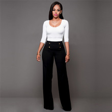 High Waist Wide Leg Pants Summer Women Fashion Elegant Office Long Trousers New Ladies Solid Casual Flared Trousers Plus Size