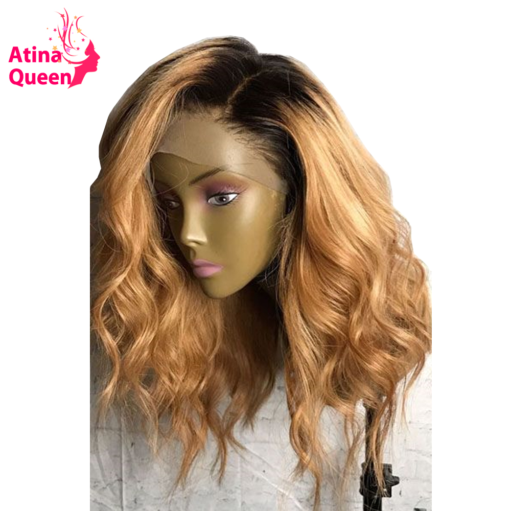 13x6 Deep Part Dark Roots Honey Blonde Short Human Hair Wigs Remy Ombre 1b 27 Lace
