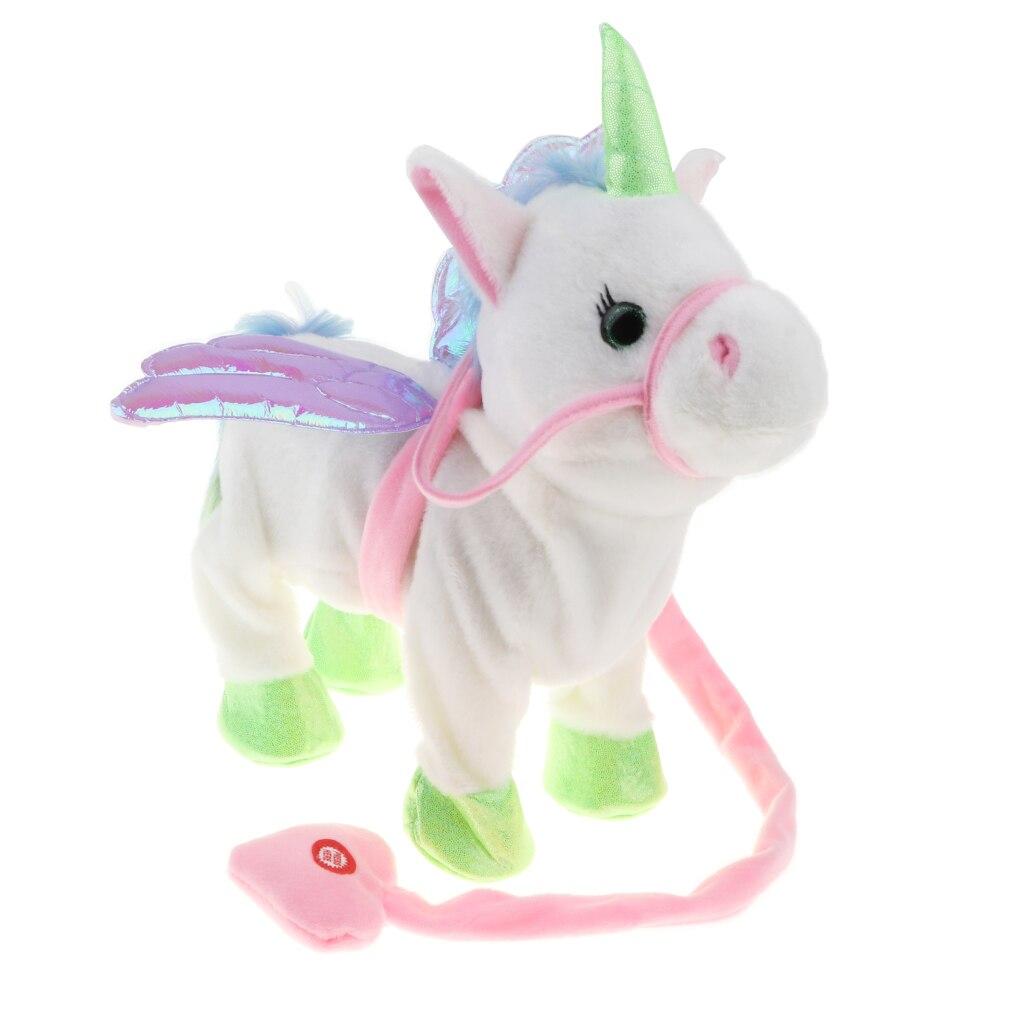 Electric Walking Singing Unicorn Musical Animal Toy Plush Stuffed Interactive Electronic Horse Robot Doll Boys Girl Gift - White