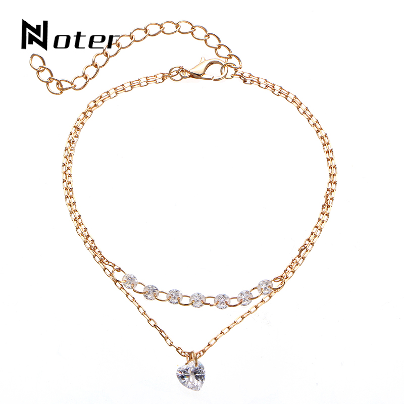 Noter Multilayer Link Chain Women Bracelet Luxury Crystal Gold Color Chain Braslet For Women Girls Hand Jewelry Accessories