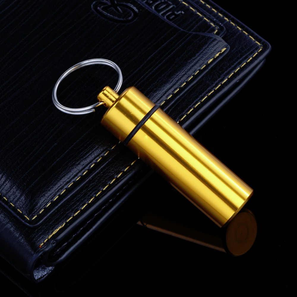 صندوق دواء صغير محمول مقاوم للماء الألومنيوم ضوء أصفر حبة صندوق صندوق زجاجة ذاكرة التخزين المؤقت المخدرات حامل الحاويات مع سلسلة المفاتيح