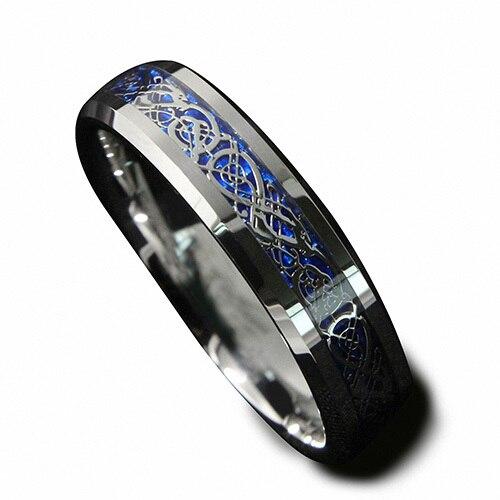 6mm Argento Colore Anello Di Tungsteno Celtica Drago Con Sfondo Blu