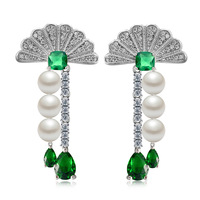Chic Sector Green Crystal Earrings For Women Brincos Imitation Pearl Dangle Earrings Boucle D Oreille Femme