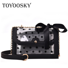 TOYOOSKY 2019 Design Luxury Brand Women Transparent Crossbody Bag Dot Clear PVC Jelly Small Messenger Bags Female Shoulder
