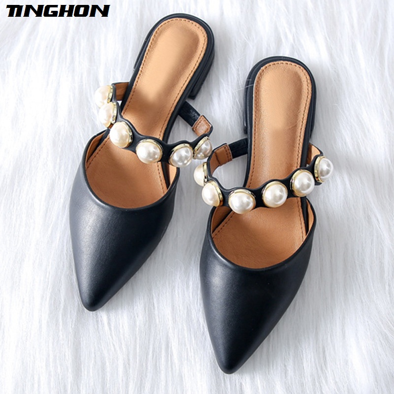 TINGHON Women Pearl Flats Shoes for Pointed Toe Elegant Mules Slip on Flat