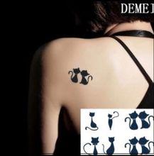 (Min Order $0.5) Temporary Tattoo For Man Woman Waterproof Stickers Makeup Maquiagem Make Up Lovely Cat Cats Tattoo WM164