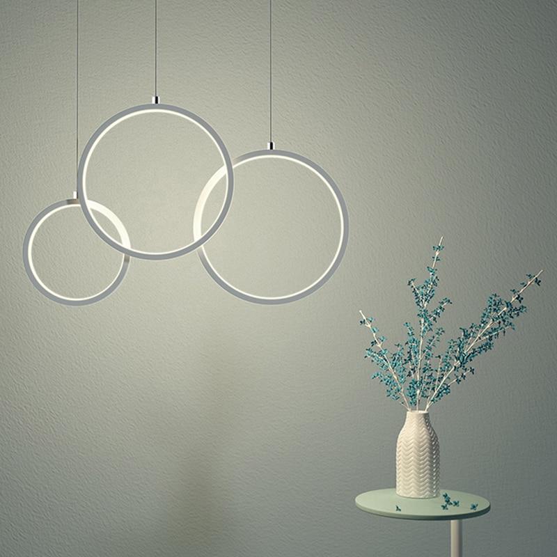 AC85-265V pendentif lustre pour salle à manger cuisine Bar salon luminaire plafonnier 110-220V cercle moderne lustre luminaire