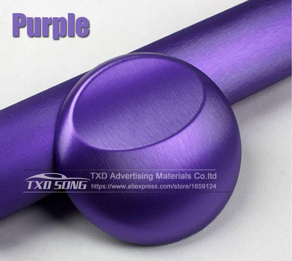 Хорошее качество, хромированная металлическая матовая алюминиевая виниловая металлическая виниловая пленка для отделки автомобиля, наклейка для стайлинга автомобиля, украшение из фольги - Название цвета: purple
