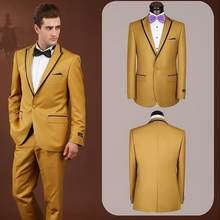 Hommes costumes Smokings de Marié Maximale de Revers Meilleur Homme Costume  Or de Groomsman Hommes WeddingProm 1f9155f5855