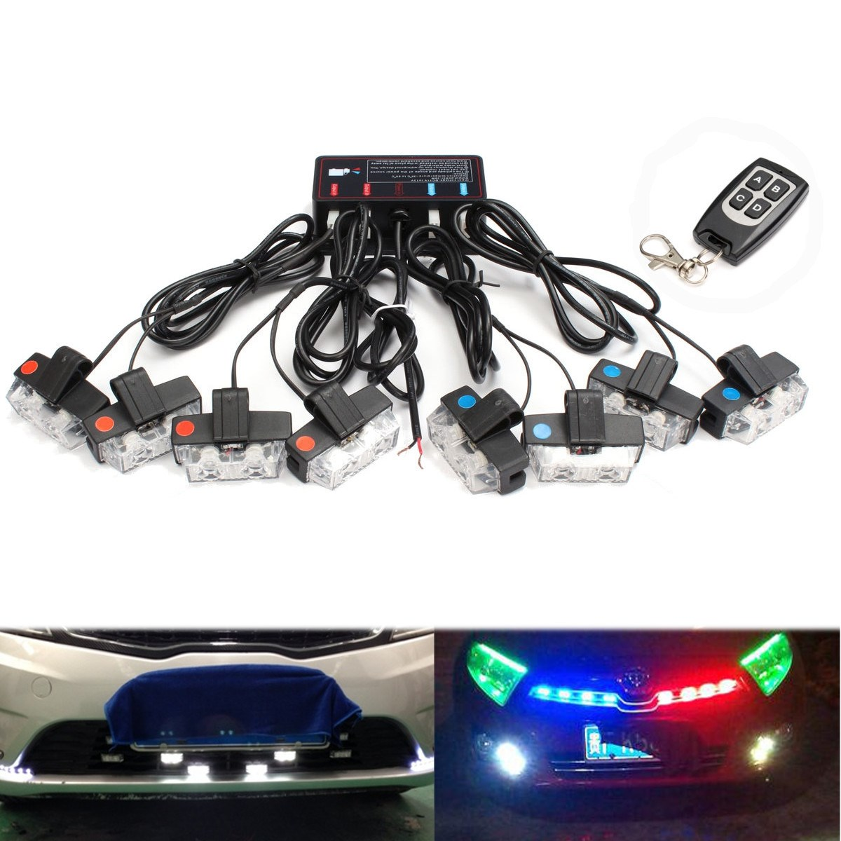 цена на 16 LEDs Flash Emergency Flashing Warning Strobe Light 12V LED Car Front Grille Deck Strobe For Police Dash Lights Red&Blue White
