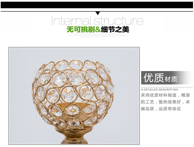 H65cm Fashion france gold candle holders crystal candle holders tall ...