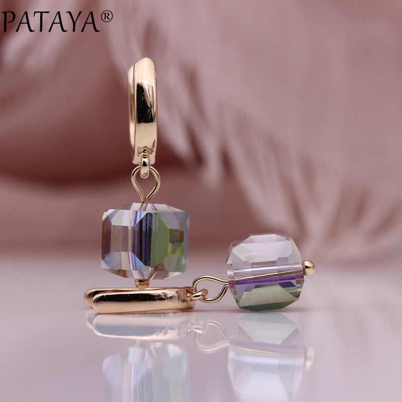 PATAYA 328 rocznica 585 różowe złoto stałe Gradient kryształ długie kolczyki kobiety moda biżuteria Wedding Party prosty kolczyk