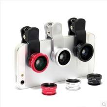 3 en 1 universal de ojo de pez + macro + lente de la cámara de gran angular para el teléfono móvil