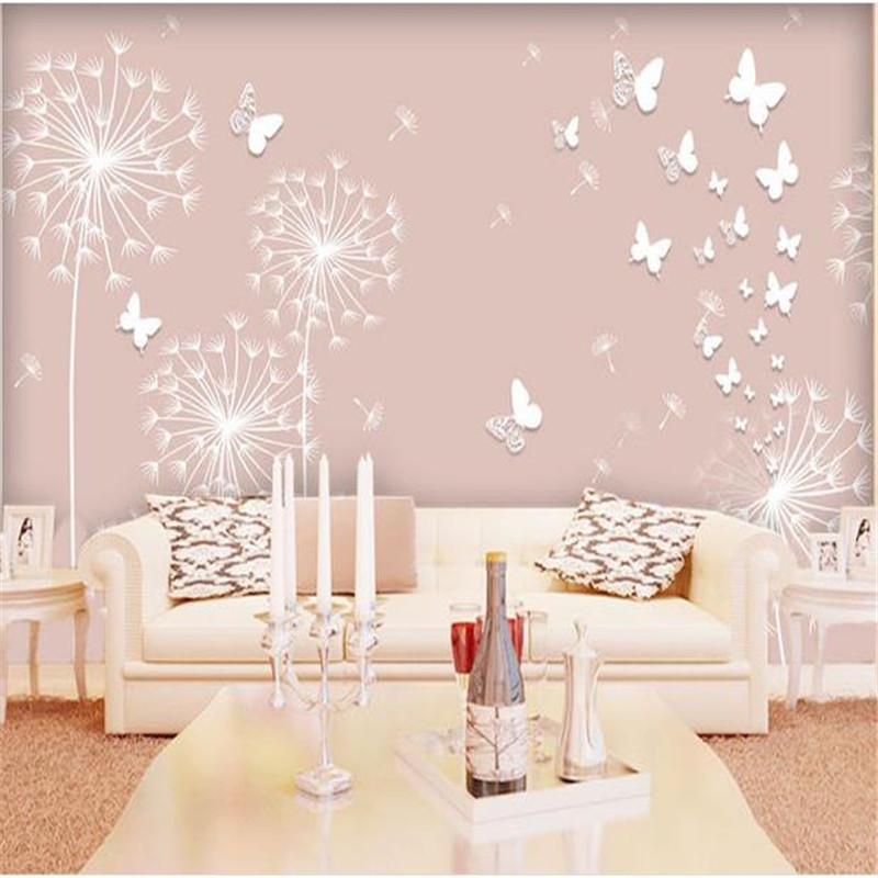 3D Stereoscopic Dandelion Wallpapers Pink Dandelion Children Room Wall Wallpaper For Kids Room Wallpaper Sofa Bedroom Sofa Mural retro personality large world map mural wallpaper 3d painting living room bedroom wallpapers backdrop stereoscopic wall paper