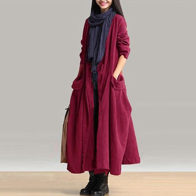 39cf7169ac7 Women Autumn Solid Long Sleeve Open Front Pockets Cotton Linen Elegant Long  Coat Loose Lace Up