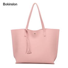 Bokinslon Tassel Handbags Woman PU Leather Large Capacity Female Shoulder Bags Solid Color Practical Women corssbody Bag