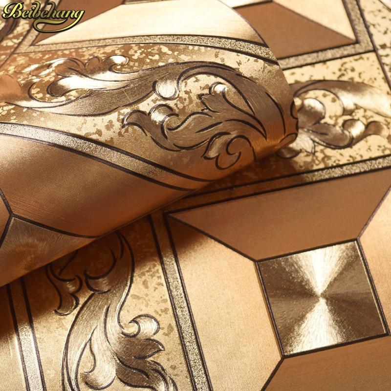 Beibehang luxe maison amélioration papier peint feuille d'argent feuille d'or papier peint chambre salon télévision fond papier peint