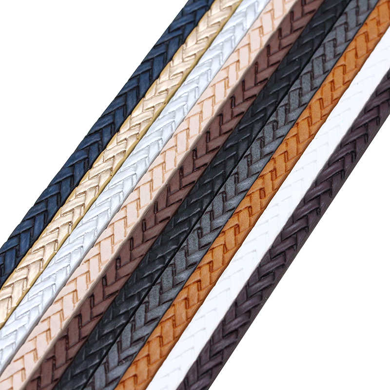XCHARMS 5MM Flat PU Leather Cord Braid Rope Diy Jewelry Findings Accessories Fashion Jewelry Making Materials for Bracelets