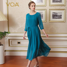 VOA 2017 Summer Silk Elegant Dresses Women Spring Sexy Round Collar Bohemian Cyan Black Plus Size Long Dresses A0303