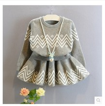2017 autumn winter kids clothing sets litter girl sweater tops and skirt set suits children clothes