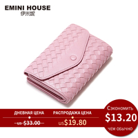 EMINI HOUSE Sheepskin Knitting Wallet Women Clutch Coin Purse Women Zipper & Buckle Short Wallets Genuine Leather Small Wallet