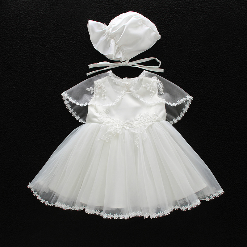 new born baby girls dress white lace wedding party baby dresses ball gown sleeveless girl baptism 1 year vestido infantil 3-24