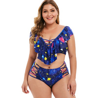 Rosegal Plus Size Bikini Flounces Planet Star Moon Print Tankini Set Summer V Neck Lace Up Swimsuit Padded Swimwear Women 2019