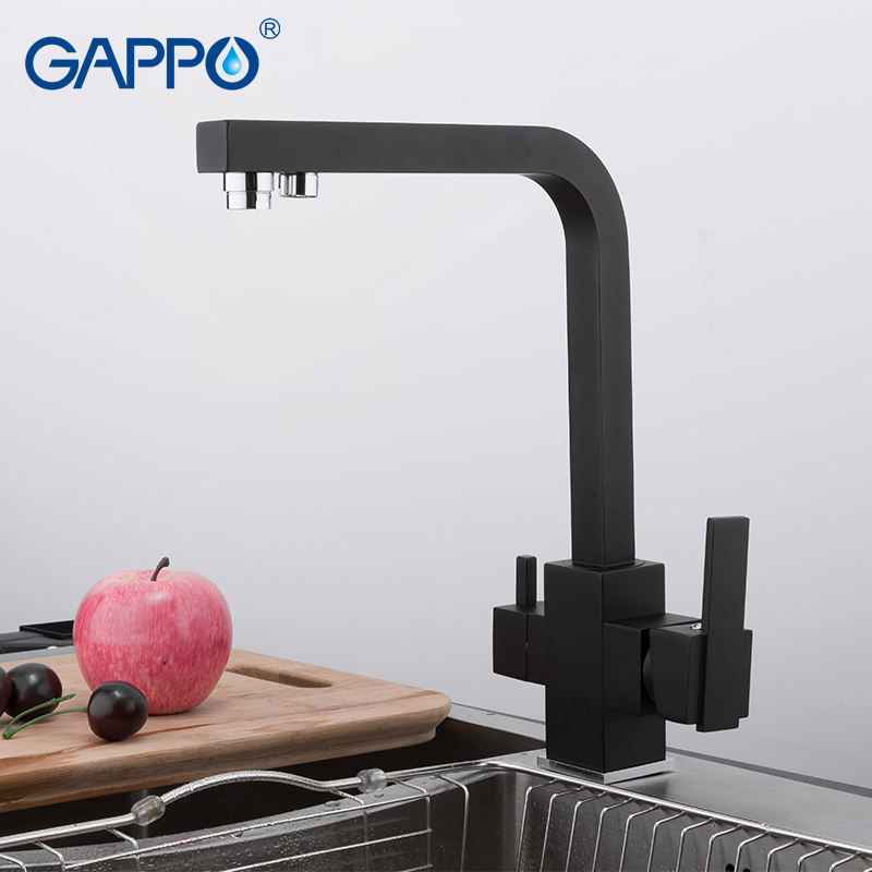GAPPO BlacK Kitchen Faucet Water Filter Tap Kitchen Brass Sink Faucet Water Mixer Crane Tap Torneira Cozinha With Filtered Water