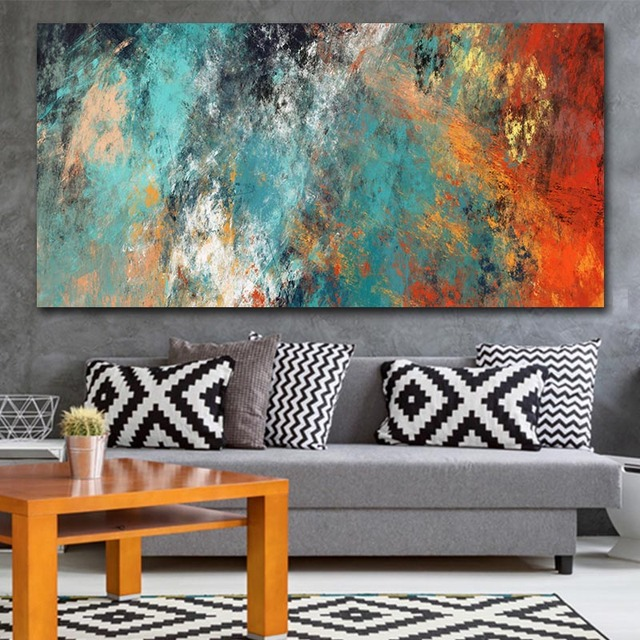 Large Abstract Colorful Canvas Painting