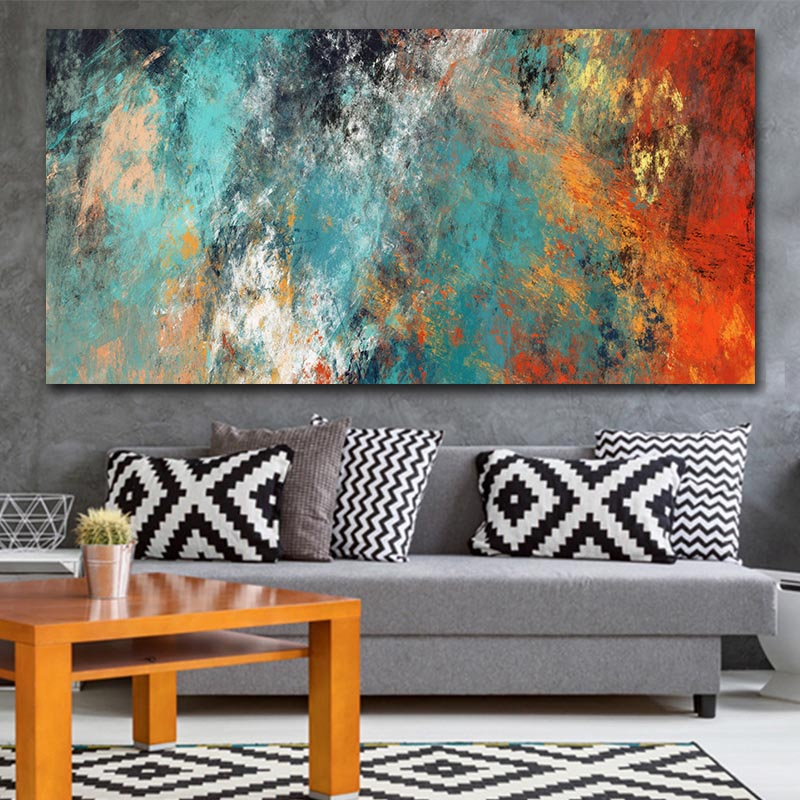 Large Size Wall Pictures For Living Room Home Decor Abstract Clouds Colorful Canvas Painting Art Home Decor No Frame image