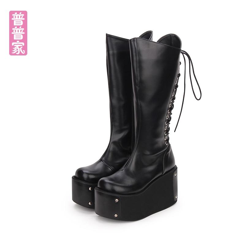 Милые туфли Лолиты для принцессы зимние готический панк теплые сапоги с заклепками на толстом кексы супер Обувь на высоком каблуке и Сапоги