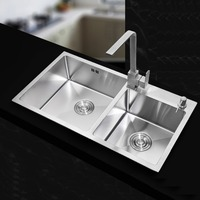 710 420mm 304 Stainless Steel Rectangular Manual Kitchen Sink Set With Dish Network Soap Dispenser Drainage