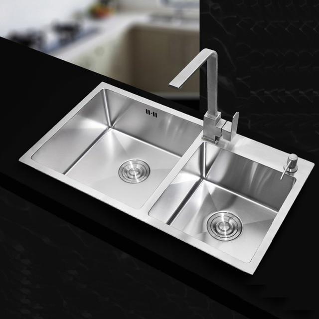 undermount stainless sinks kitchen throw rugs washable 710*420*220mm steel ...