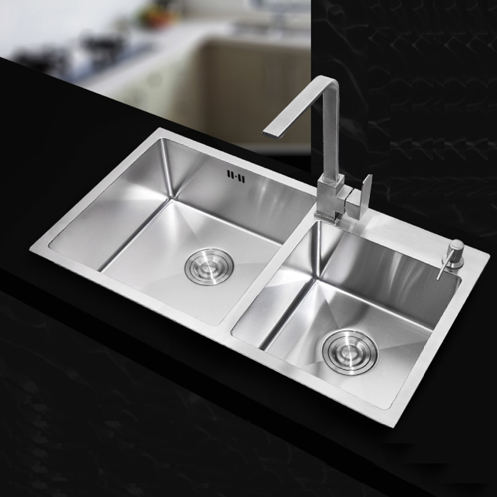 710420220mm stainless steel undermount kitchen sinks sets double bowl drawing double drainer - Double Ceramic Kitchen Sink