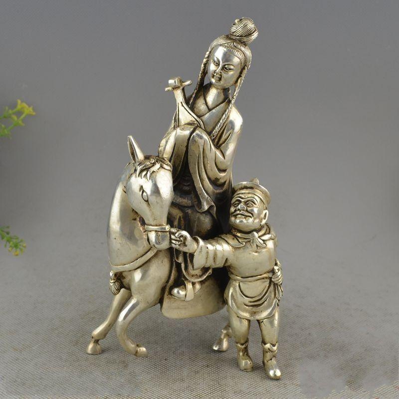 Cina Da Collezione Old Lavoro Manuale Intagliare Miao Argento Wang zhaojun da viaggio StatuaCina Da Collezione Old Lavoro Manuale Intagliare Miao Argento Wang zhaojun da viaggio Statua