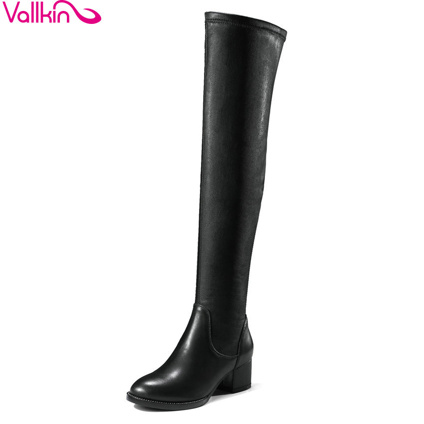 VALLKIN 2018 Winter Snow Women Boots Over The Knee Boots Genuine Leather+PU Ladies Square High Heels Fashion Boots Size 34-39 yougolun woman nubuck winter over the knee snow boots 2018 women thigh high boots ladies square heels thick plush warm shoes