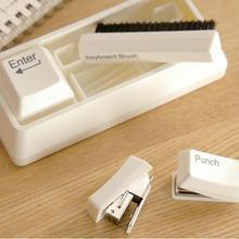 Мини степлер Дырокол клавиатура щетка Клип держатель набор клавиатура канцелярские принадлежности