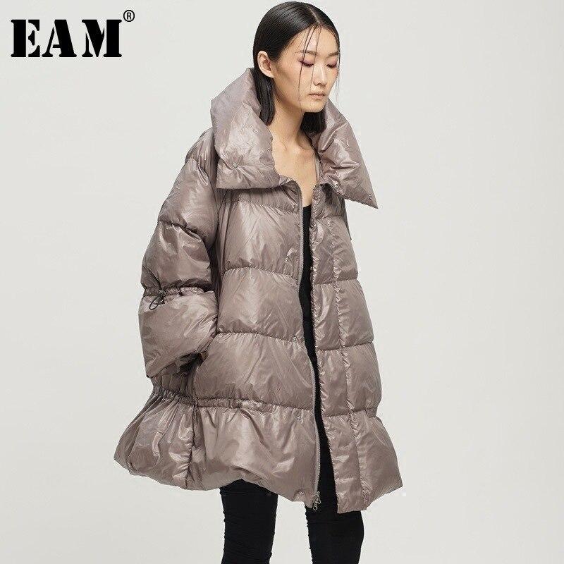 [EAM] 2019 Nouveau Printemps Épais Col Roulé Col Zipper A-ligne Lâche Ourlet Garder Chaud Vers Le Bas Veste D'hiver Femmes Mode marée OB067