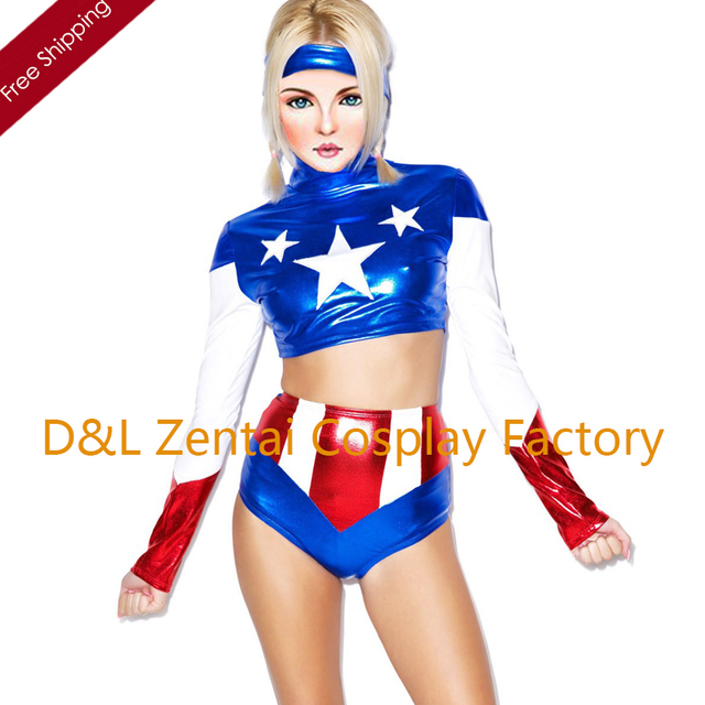 Free Shipping DHL 2016 NEW Sexy Two Pieces Female Captain America Costume Movie Costume Shiny Zentai  sc 1 st  AliExpress.com & Free Shipping DHL 2016 NEW Sexy Two Pieces Female Captain America ...