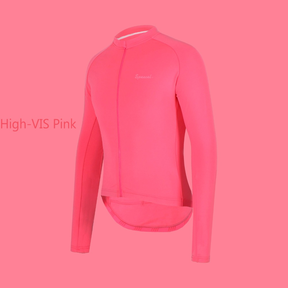 SPEXCEL 2018 SPEXCEL High Vis Pink Pro team race fit thermal fleece Cycling  Jersey Bicycle clothes for 10-18 degree ride 63f44428d