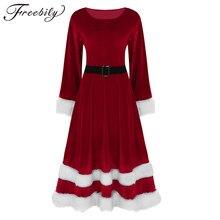 9d148eb3f93 Plus Size 5XL New Vintage Christmas Dress Women Long Sleeve Warm Winter Dress  Red Velvet Xmas