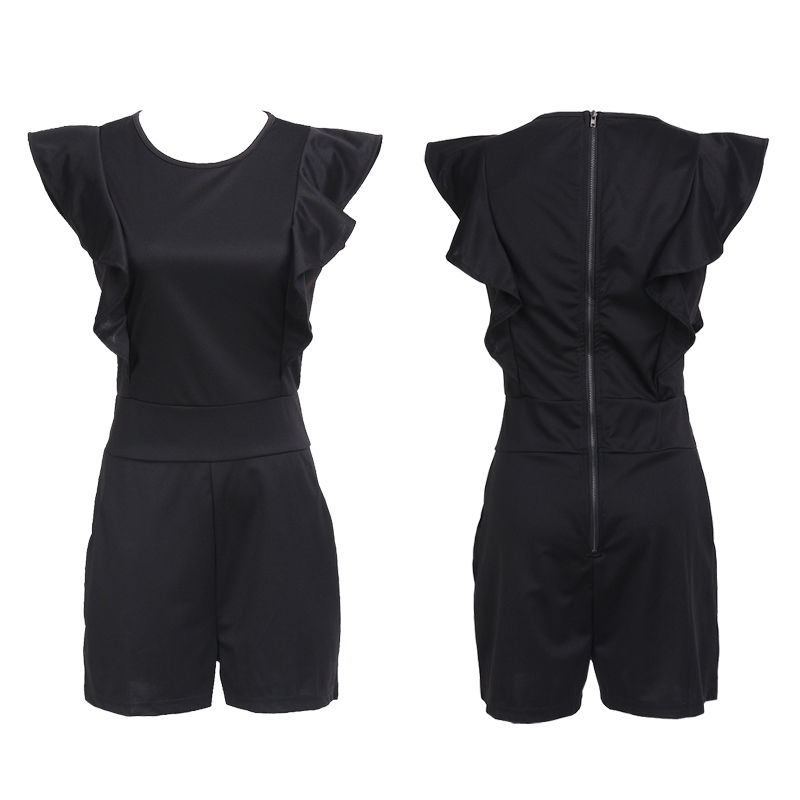 Women ladies casual Sleeveless Playsuit Bodycon ruffles solid skinny slim zipper Jumpsuit Romper toursers