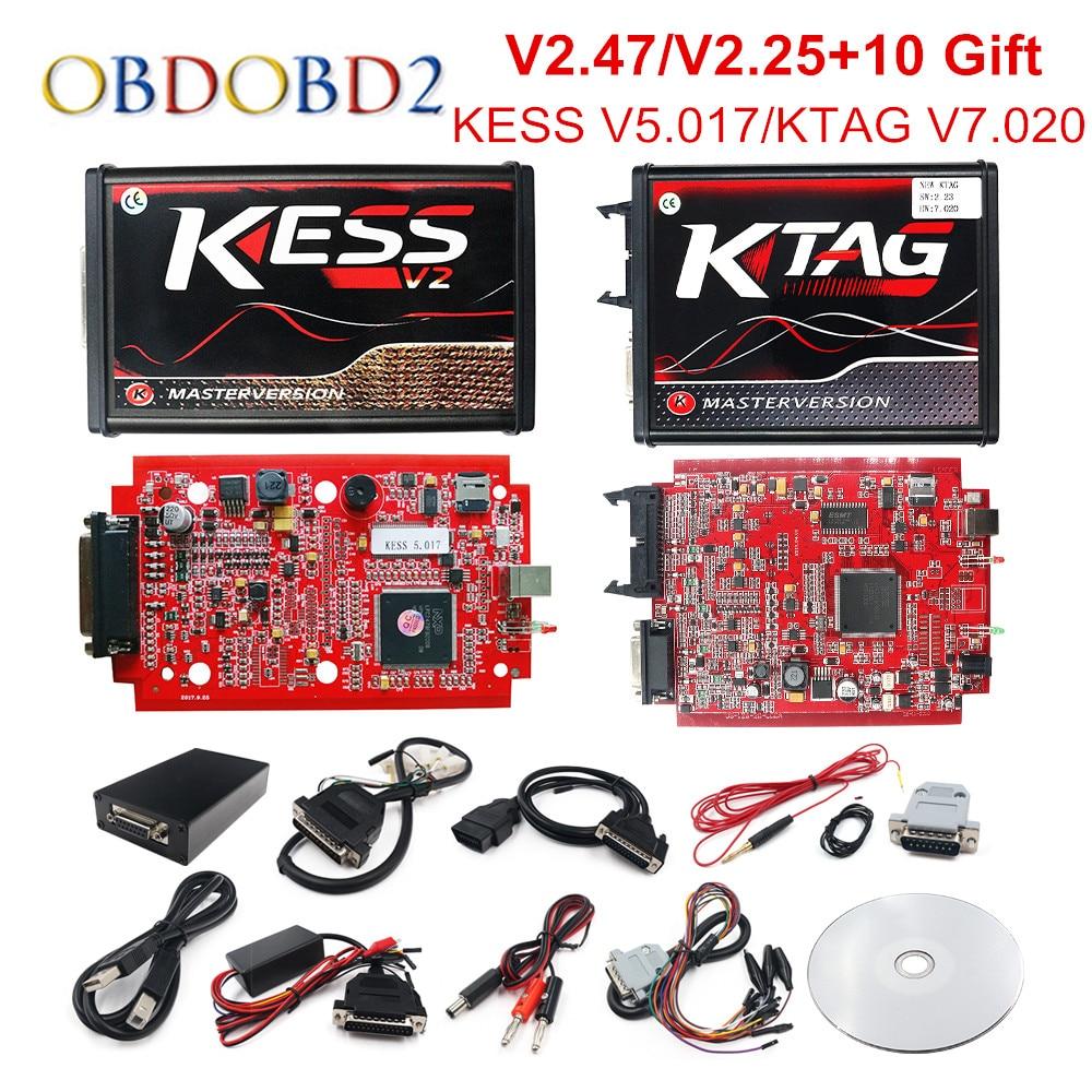Интернет-V2.47 ЕС красный KESS V5.017 OBD2 менеджер Тюнинг KTAG V7.020 4 светодиодный KESS V2 5,017 программатор BDM K-TAG V2.25 автомобильный ЭБУ