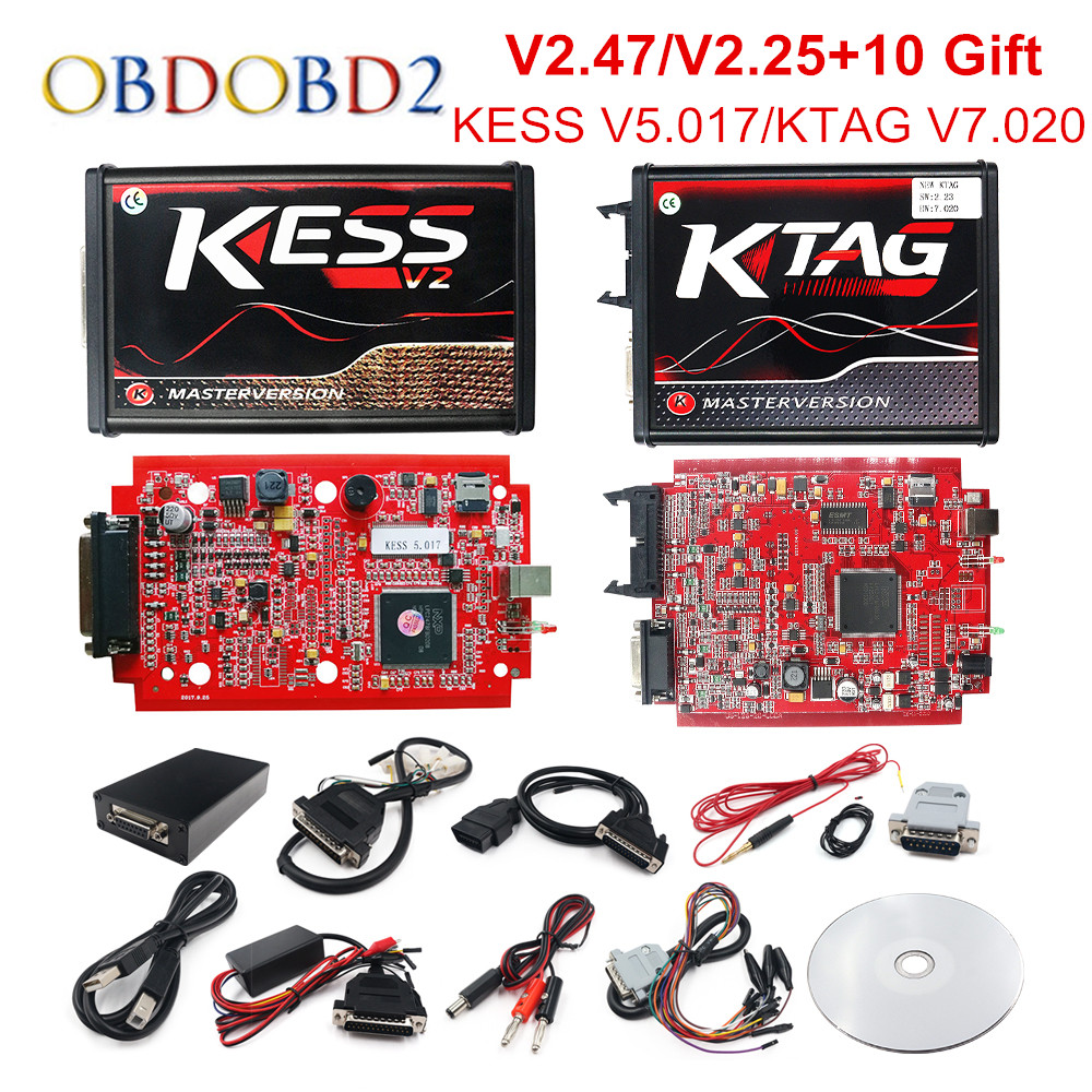 Online V2.47 EU Red KESS V5.017 OBD2 Manager Tuning KTAG V7.020 4 LED KESS V2 5.017 BDM Frame K-TAG V2.25 Auto ECU Programmer