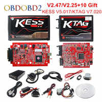 ออนไลน์ V2.47 EU สีแดง KESS V5.017 OBD2 Manager ปรับ KTAG V7.020 4 LED KESS V2 5.017 BDM กรอบ K-TAG V2.25 auto ECU Programmer