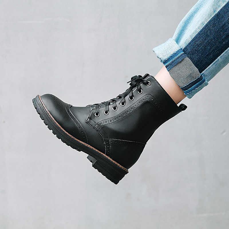 WETKISS Yeni Sonbahar Kadın yarım çizmeler Yuvarlak Ayak Ayakkabı bağcıklı ayakkabı Kadınlar 2018 Kalın Topuklu Bayan Ayakkabıları Kürk Ordu Kadın Çizme