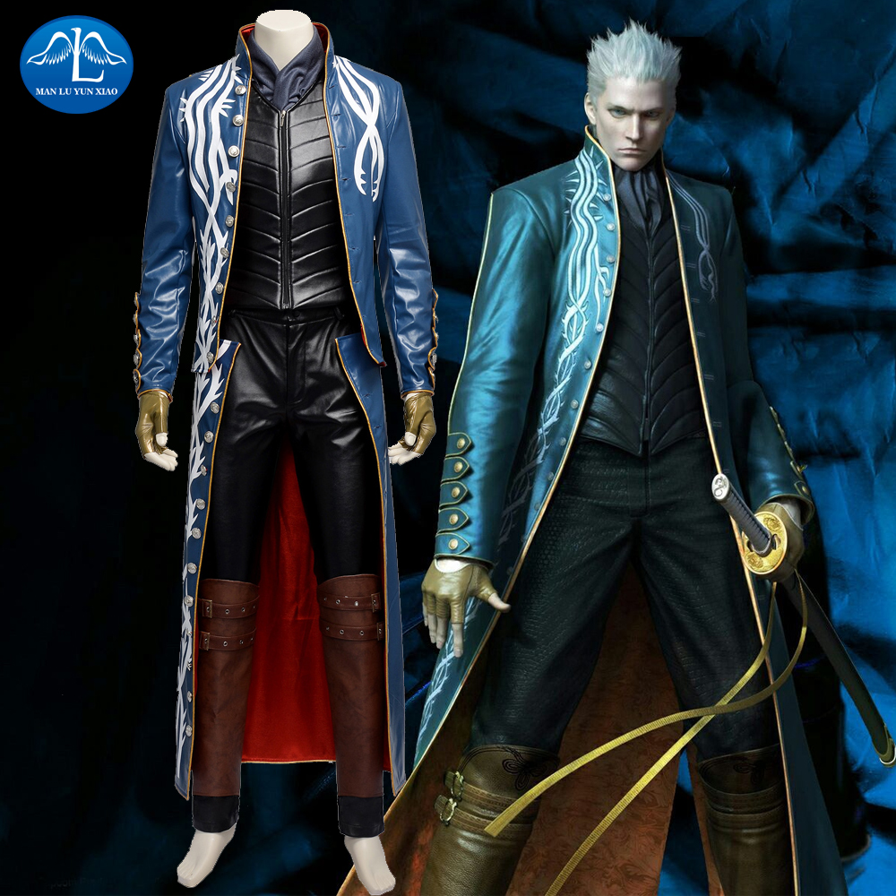 MANLUYUNXIAO Devil May Cry 3 Vergil Cosplay Costume Game Devil May Cry Costume Game Coser Cosplay Men Full Set Custom Made