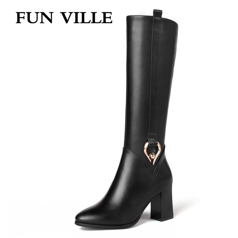 все цены на FUN VILLE 2018 New Style Women knee High Boots Genuine Leather Winter High heel Boots Warm Pointed toe Zipper Big size 34-45